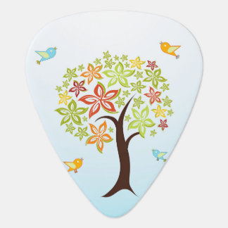 Tree and birds guitar pick