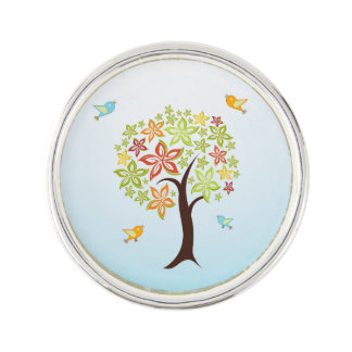 Tree and birds lapel pin