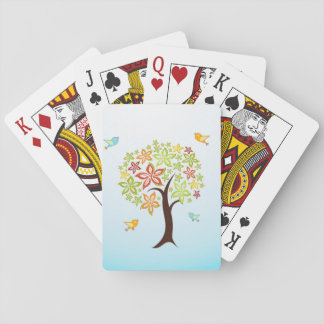 Tree and birds playing cards