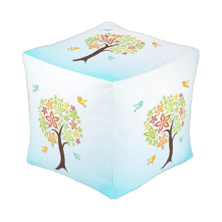 Tree and birds pouf