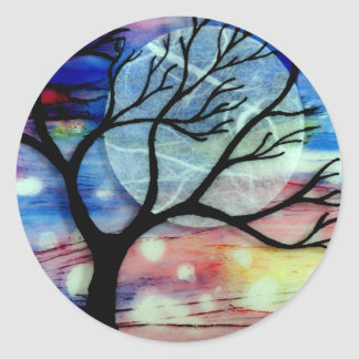 Tree and Ink Transparent Layers Classic Round Sticker