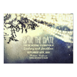 "tree and lights rustic save the date cards 4.5"" x 6.25"" invitation card"