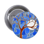 Tree and Moon Art Button- Blue
