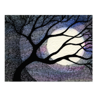 Tree and Moon Cross Hatched Postcard