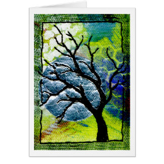 Tree and Moon Fiber Art Card