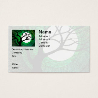 Tree and Moon - Green Business Card