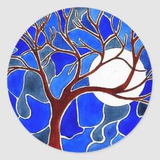 Tree and Moon on Canvas - Blue Round Sticker