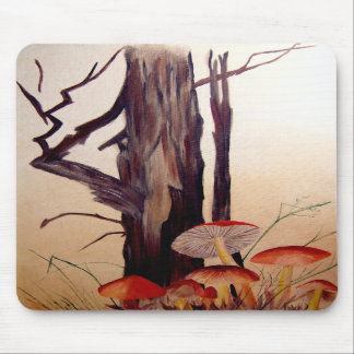 Tree and Mushrooms Mouse Pad