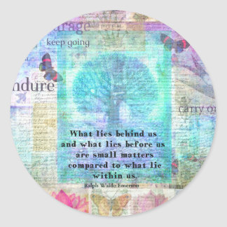 Tree and Nature Art Collage with Emerson Inspirati Classic Round Sticker