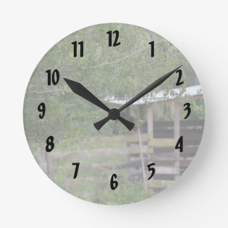 tree and old barn florida photo round clock
