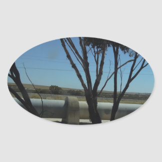 Tree and Pipeline Design Oval Sticker