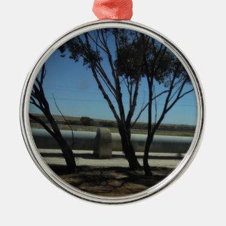Tree and Pipeline Design Silver-Colored Round Ornament