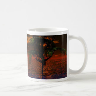 Tree and Sphere in Wavy Water with Eagle Flying Coffee Mug