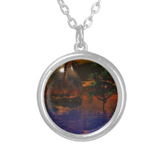 Tree and Sphere in Wavy Water with Eagle Flying Silver Plated Necklace