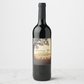 Tree and String Lights Rustic Dreamy Wedding Wine Label