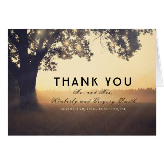Tree and String Lights Rustic Wedding Thank You Card