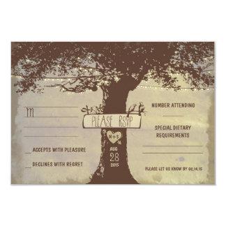 tree and string lights wedding RSVP cards