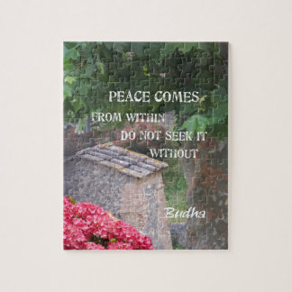 Tree and wall with Budha message Jigsaw Puzzle