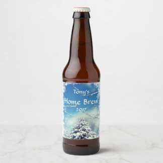 Tree and White Snow Christmas Beer Label
