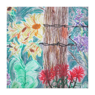 Tree and Wild Flowers Canvas Print