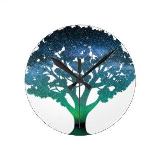 Tree Aurora Round Clock
