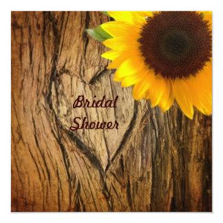 tree bark country sunflower  bridal shower card