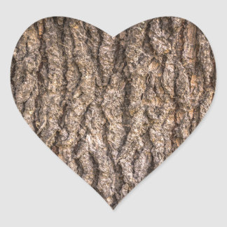 Tree Bark Texture Heart Sticker
