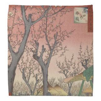 Tree Blossoms Plum Garden Japanese Woodblock Kerchief