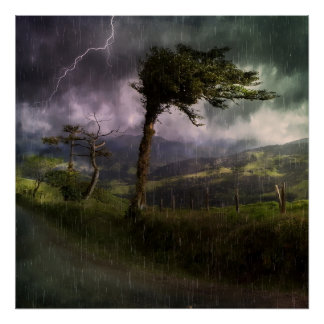 Tree Blowing in the Wind During a Thunder Storm Poster