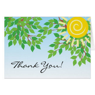 Tree Branch with Green Leaves & Sun, Thank You Card