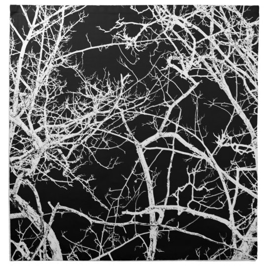 Tree branches on black background printed napkins