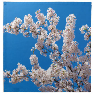 Tree branches with blooming white flowers napkin