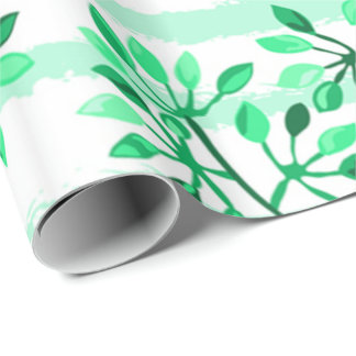 Tree branches with leaves wrapping paper