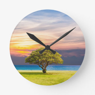 Tree by the Ocean Round Clock