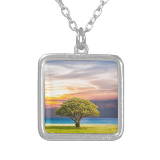 Tree by the Ocean Silver Plated Necklace