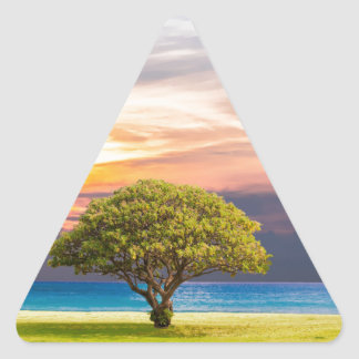 Tree by the Ocean Triangle Sticker