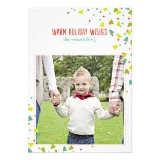 Tree Confetti Modern Folded Holiday Photo Card