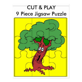 Tree, CUT & PLAY 9 Piece Jigsaw Puzzle Postcard