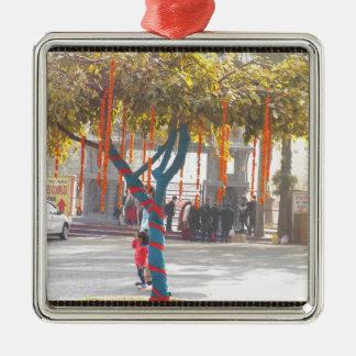 Tree Decorations Suraj Kund Nature Festival india Silver-Colored Square Ornament
