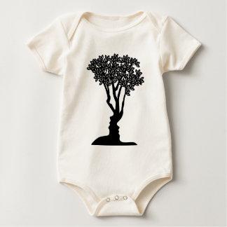 Tree Faces Optical Illusion Concept Baby Bodysuit