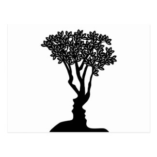 Tree Faces Optical Illusion Concept Postcard