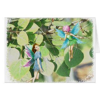 Tree Fairies among Quaking Aspen Leaves Card