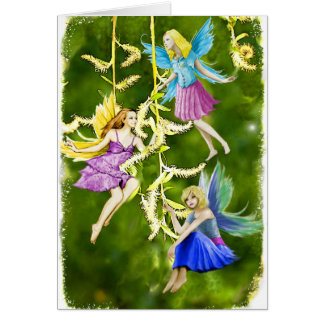 Tree Fairies on the Weeping Willow Card
