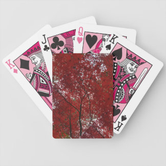 Tree Fall Season Red Brown Autumn Leaves Bicycle Playing Cards