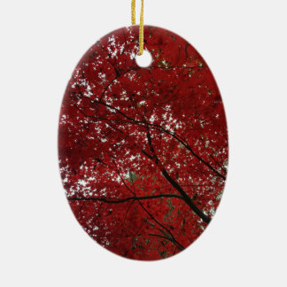 Tree Fall Season Red Brown Autumn Leaves Ceramic Oval Ornament