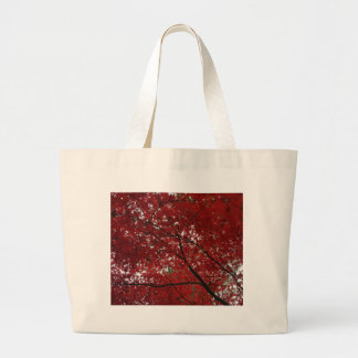Tree Fall Season Red Brown Autumn Leaves Large Tote Bag