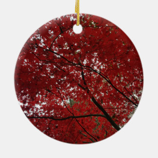 Tree Fall Season Red Brown Autumn Leaves Round Ceramic Ornament