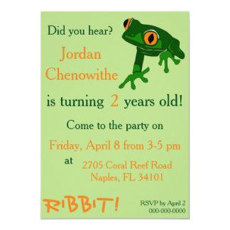 tree frog child's birthday invitation - green