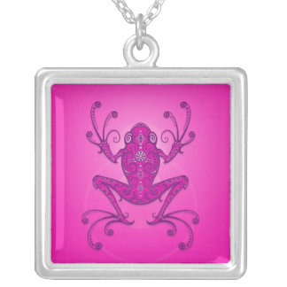 Tree Frog – deep pink Silver Plated Necklace