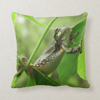 Tree Frog Hanging On Throw Pillow